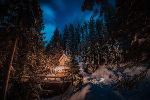 Фото бесплатно зима, лес, избушка