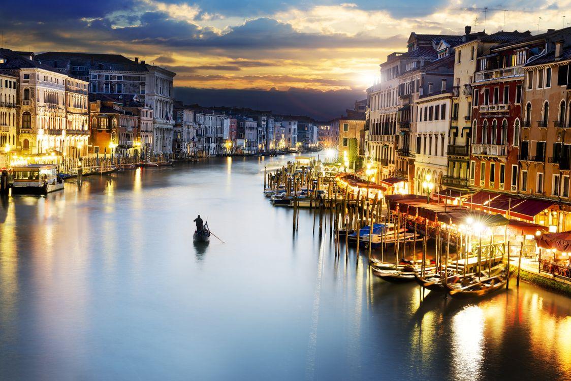 Фото бесплатно Гранд-Канал, Гондолы, Италия, свет, Венеция - на рабочий стол