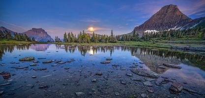 Бесплатные фото Hidden Lake,Glacier National Park,Montana,закат,горы,озеро,деревья