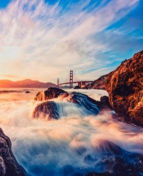 Фото бесплатно берег, камни, мост золотые ворота