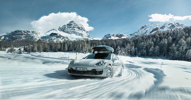 Фото бесплатно Porsche, снег, трасса