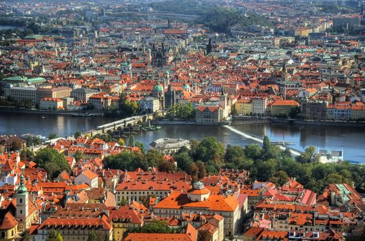 Photo free Prague, a summer s day, the roofs of the houses