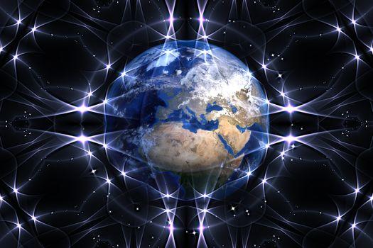 Заставки земля, планета, глобус, сеть, соединения, контакт, связь, волны, нейроны