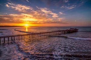 Бесплатные фото Капитолий,Пирс,Санта-Крус,море,закат,мост,волны