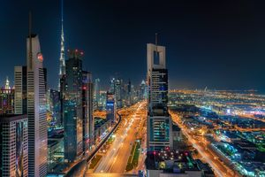 Заставки Небоскребы, Дубай ОАЭ ночь, ночные города