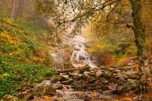 Заставки осенний водопад, осень, косогор