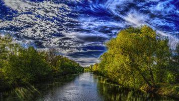 Заставки река, деревья, пейзаж