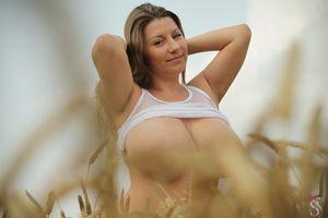 Бесплатные фото Саманта Лили,Большие сиськи,брюнетка,ажурные,титьки,огромные сиськи,поле