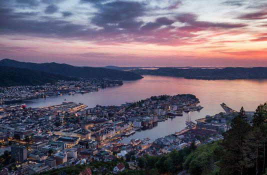 Фото бесплатно Берген, Норвегия, сумерки