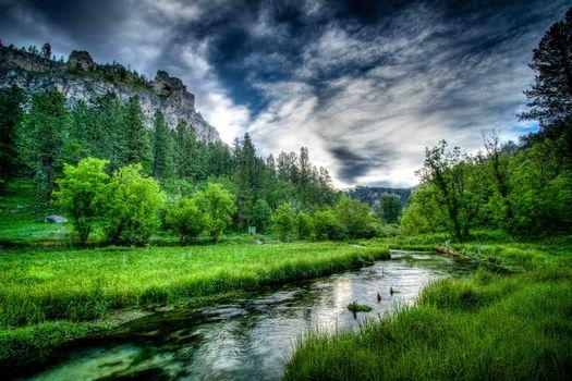 Фото бесплатно South Dakota, река, горы