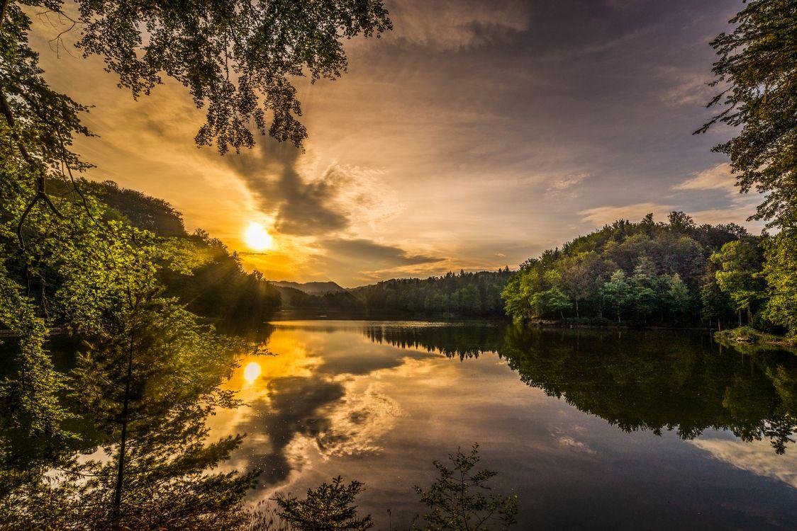 Фото бесплатно Самян, озеро, Тракошчан, Хорватия, утро, осень, Восходсолнца, пейзаж, пейзажи - скачать на рабочий стол