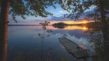 Бесплатные фото закат,озеро,деревья,отражение,причал,мостик,пейзаж