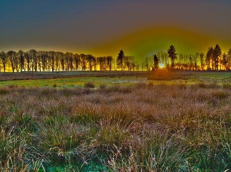 Заставки Cumbria,поле,трава,закат,забор,ограждение,деревья,Irton Hall,England,United Kingdom