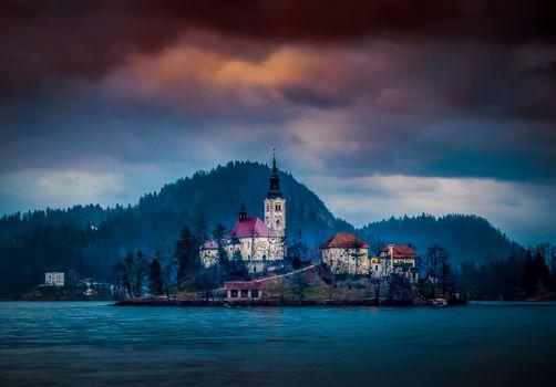 Фото бесплатно сумерки, пейзаж, Словения