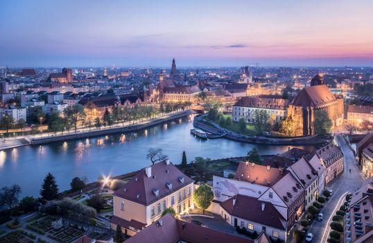 Бесплатные фото Wroc aw,Poland,закат,сумерки,иллюминация,город