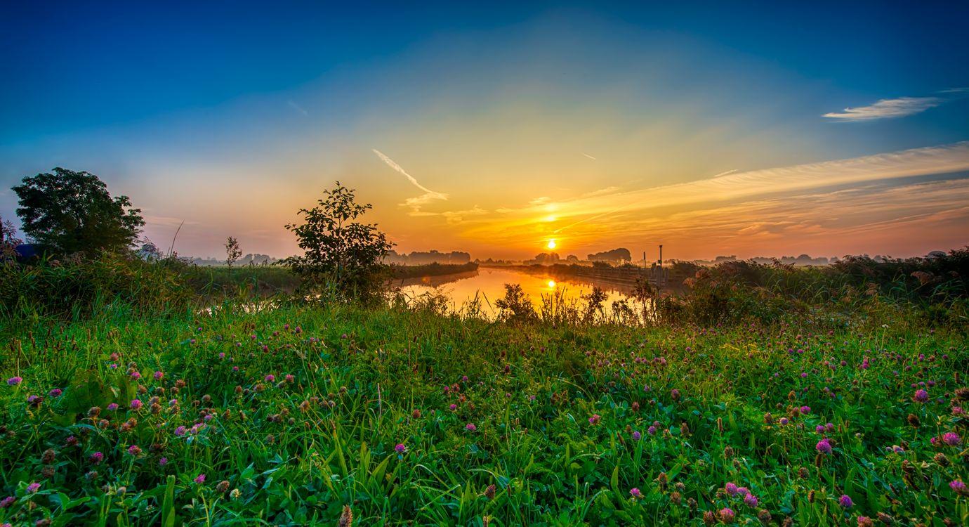 Фото бесплатно закат, река, берег - на рабочий стол