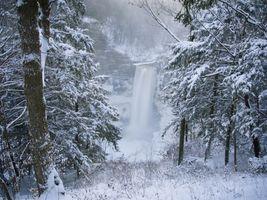 Заставки зима, водопад, скалы