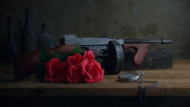 Фото бесплатно пистолет, пулемет, старый
