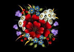 Фото бесплатно черный фон, букет, композиция из цветов