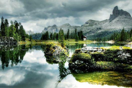 Бесплатные фото Antelao Dolomiti Mountain Re,Италия,Bergsee,природа,озеро,federa,облака,небо,альпийский,горы,осень,домик