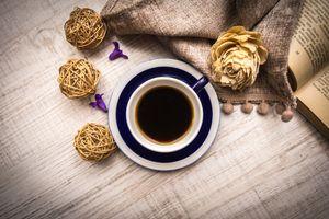Фото бесплатно кофе, цветы, книга