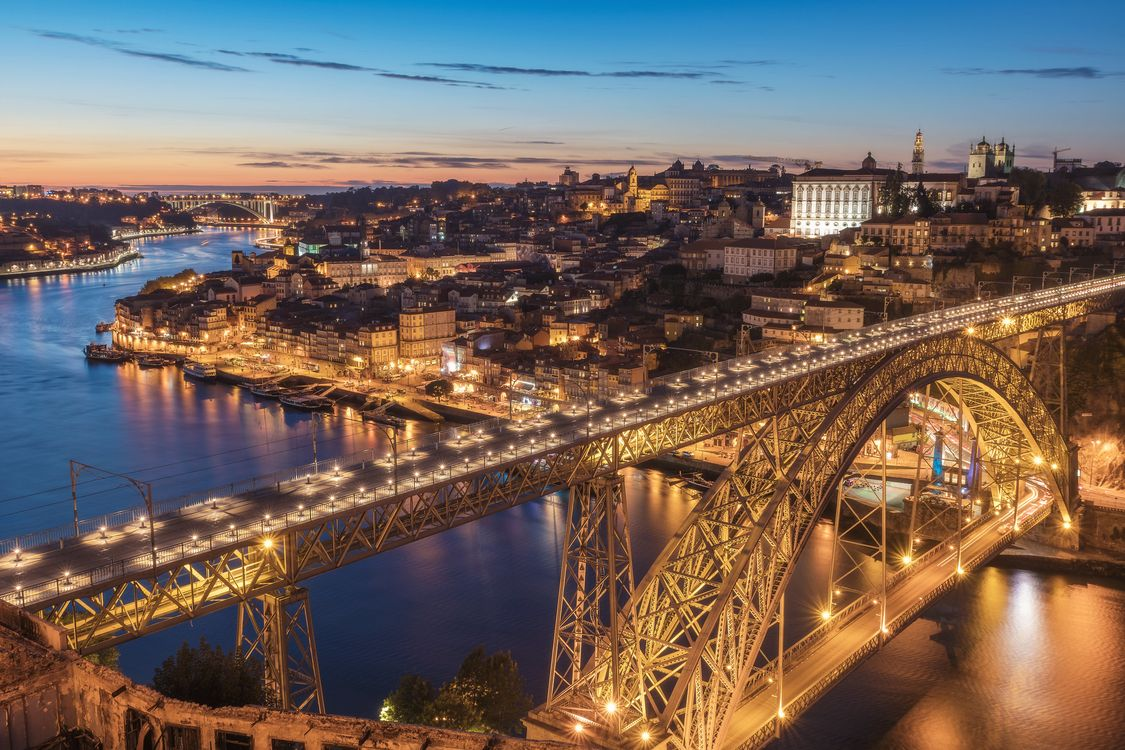 Фото бесплатно Порто, мост, закат - на рабочий стол