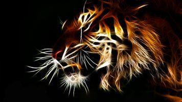 Фото бесплатно кошки, фрактал, тигр