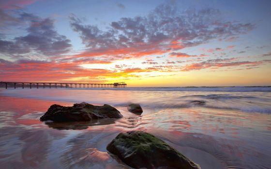 Заставки пляж,небо,горизонт,пирс,море,солнце