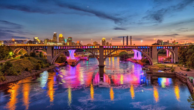 Фото бесплатно Minneapolis, Minnesota, река, мост, иллюминация, город, ночь, ночные города, город