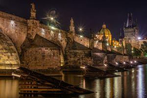 Фото бесплатно Чешская Республика Карлов мост, освещение, мосты