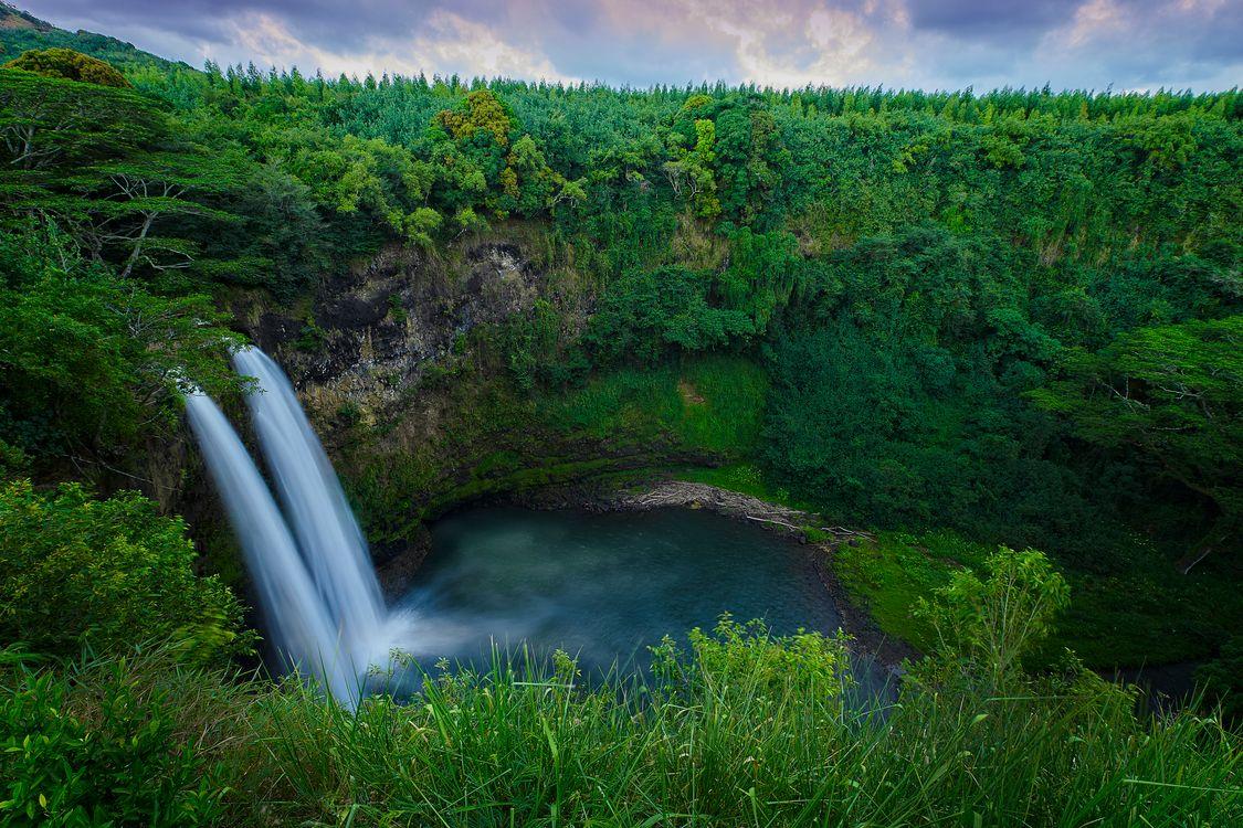 Фото бесплатно Chasing Waterfalls, Гавайи, водопад, скалы, лес, деревья, пейзаж, пейзажи
