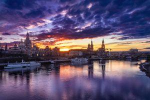 Фото бесплатно Дрезден, Германия, красивый закат