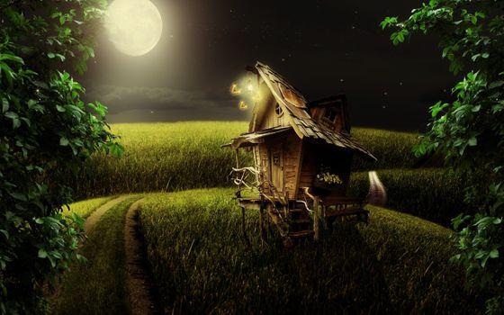 Фото бесплатно изба, баба яга, избушка на курьих ножках, поле, дом, пейзаж, луна, ночь, дорога