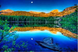 Бесплатные фото Rocky Mountain National Park,Bear Lake,закат,озеро,лес,деревья,камни