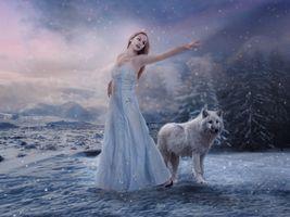 Бесплатные фото девушка и волк,зима,снег,девушка,волк,фантазия,art
