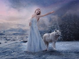 Photo free the girl and the wolf, winter, snow