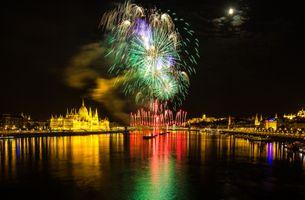 Фото бесплатно Парламент, Будапешт, Венгрия, салют, фейерверк, город, ночь, иллюминация, праздник