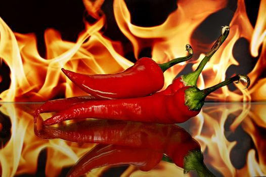 Photo free red peppers, flame, vegetables