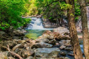 Фото бесплатно North Carolina, National Forest, водопад, река, камни, деревья, природа, пейзаж