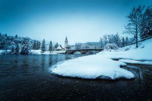 Заставки Словения, зима, река