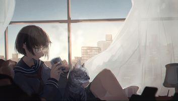 Photo free anime girl, glasses, meganekko