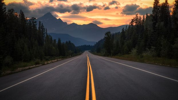 Photo free canada alberta, road, sunset