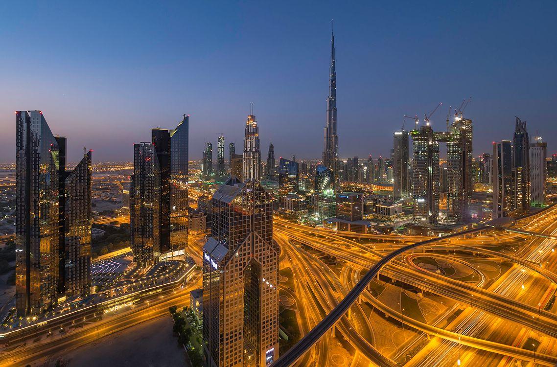 Обои ночные города, ОАЭ, огни картинки на телефон