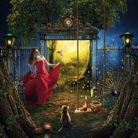 Бесплатные фото фантазия,двери в рай,девушка,красотка,фонари,качели,райская птичка