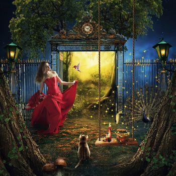 Бесплатные фото фантазия,двери в рай,девушка,красотка,фонари,качели,райская птичка,фантастика,art