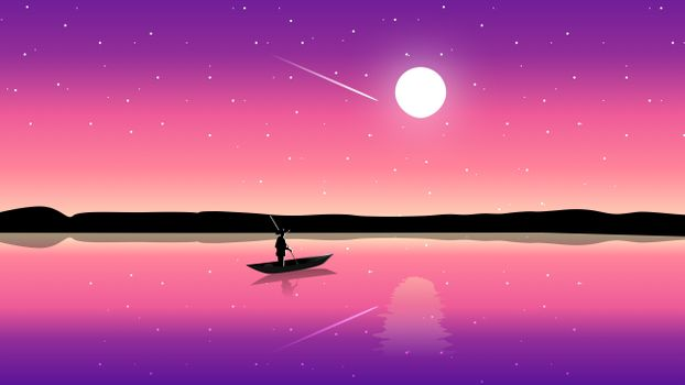 Фото бесплатно рисунок, Луна, лодка