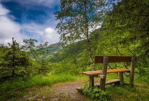 Заставки Бад Гаштайн,Австрия,Bad Gastein,горы,небо,лавочка,пейзаж