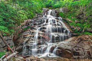 Фото бесплатно водопад, скалы, лес