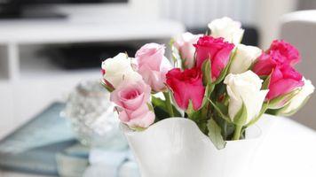 Фото бесплатно cvety, rozy, buket, vaza, rozovyy, бутоны, розы, красные, белые, розовые, ваза, декор
