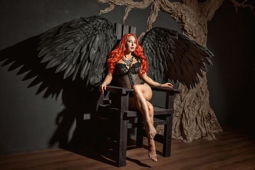 Photo free red haired stranger, model, black angel